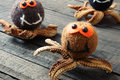 Halloween background handmade pumpkin spider october with funny with knitted decoration for holiday seasonal scary festival on Royalty Free Stock Image