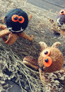 Halloween background handmade pumpkin spider october with funny with knitted decoration for holiday seasonal scary festival on Stock Photo