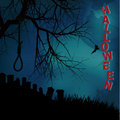 Halloween background with hangman noose text and graveyard Royalty Free Stock Photo