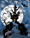 Halloween background illustration featuring night scene with spooky ghost castle bats and full moon in a cloudy sky eps file is Stock Photos