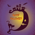 Halloween background with moon and black cat. Vector holiday  illustration Royalty Free Stock Photo