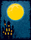 Halloween background a with a moon and a scary mansion Royalty Free Stock Images