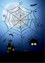 Halloween background - a night spider Stock Photography