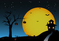 Halloween background with night tree bats pumpkins house Royalty Free Stock Photo