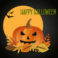 Halloween background with a pumpkin on autumn leaves against the full moon and bats Stock Photography