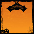 Halloween background pumpkin and bat on an orange Stock Photos