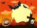 Halloween background with pumpkin in the grass gr grave cute bats and moon back Stock Photography