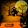 Halloween background with pumpkin, haunted house and full moon. for Halloween party. Vector illustration Royalty Free Stock Photo