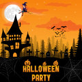 Halloween background with pumpkin, haunted house and full moon. Royalty Free Stock Photo
