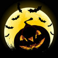 Halloween background with pumpkin and moon Stock Photos