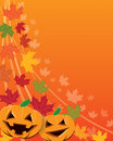 Halloween background a with pumpkins and autumn leaves Stock Image