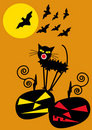 Halloween background with pumpkins bats, cat and f Royalty Free Stock Photography