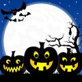 Halloween background with pumpkins full moon and vector illustration of a bats Stock Photos