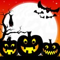 Halloween background with pumpkins full moon and vector illustration of a bats Stock Images