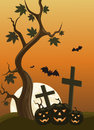 Halloween background with pumpkins and moon in the back illustration Royalty Free Stock Images