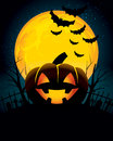 Halloween background a with pumpkins and a scary mansion Stock Images