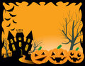 Halloween background a with pumpkins and a scary mansion Royalty Free Stock Images