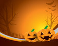 Halloween background a with pumpkins and a scary mansion Royalty Free Stock Photo