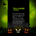 Halloween background with sample text backgroundtemplate pumpkins and on a glowing green Royalty Free Stock Photography