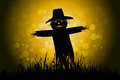 Halloween background with scarecrow and grass Stock Photography
