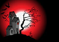 Halloween background with the scary house d vector Royalty Free Stock Photo
