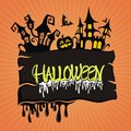 Halloween background scary night with haunted house and hanging pumpkins Royalty Free Stock Photography