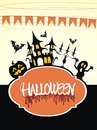 Halloween background with scary pumpkin flying bats and haunted house Royalty Free Stock Photo