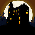 Halloween background scary with spooky house Royalty Free Stock Photos