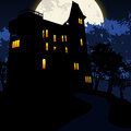 Halloween background scary with spooky house Royalty Free Stock Images