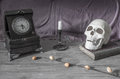 Halloween background ,scull, candles, book Royalty Free Stock Photo