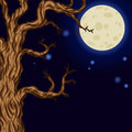 Halloween background with Silhouettes of Halloween trees.