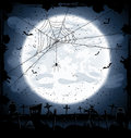 Halloween background with spider night full moon in the dark sky cemetery and illustration Royalty Free Stock Photos