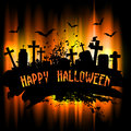 Halloween background spooky grunge with gravestones Stock Photo
