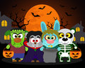 Halloween background trick or treat animals in costume Stock Image