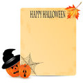 Halloween background two orange pumpkins and old sheet of paper decorated with cobwebs and autumn maple leaves Royalty Free Stock Photography