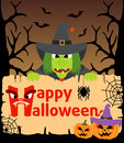 Halloween background with witch vector card Royalty Free Stock Photography