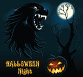 Halloween background with wolf cartoon wild Royalty Free Stock Photo