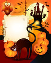 Halloween background with wooden sign and black cat