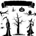 Halloween backgrund symbol and element.