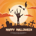 Halloween banner cemetery graveyard skeleton hand from ground party invitation card flat vector illustration Stock Photos