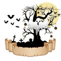 Halloween banner with ghost, pumpkin hung tree, bats and moon