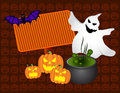 Halloween banner ghost vampires and pumpkins night Royalty Free Stock Photo