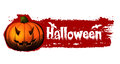 Halloween banner with pumpkin and bats blood red illustration text drawn Stock Photo