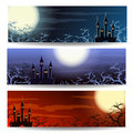 Halloween banner set of three banners or headers with landscape holiday backgrounds with place for your text Royalty Free Stock Photography