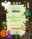 Halloween banner template. Place for your text. Vector illustration with pumpkin, ghost, candy in flat style. Royalty Free Stock Photo