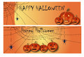 Halloween banner two banners with cobwebs and lanterns Royalty Free Stock Photography