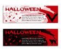 Halloween banners, poster or tickets with watercolors and drops of blood Royalty Free Stock Photo