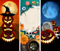 Halloween banners with pumpkins Stock Photo