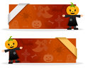 Halloween Banners with Scarecrow Royalty Free Stock Photo