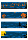 Halloween banners set dark color half banner proportions Stock Photo